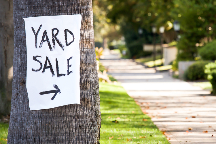 title loan places financial relief only way yard sale sign