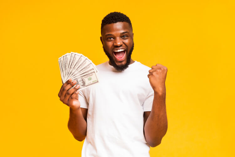 happy man with cash